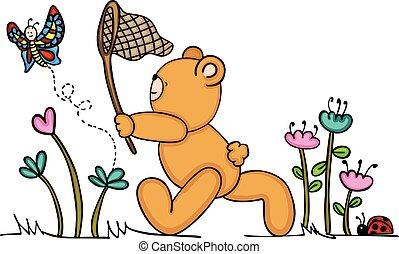 Cute teddy bear chasing a butterfly