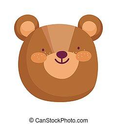 cute teddy bear face animal cartoon character