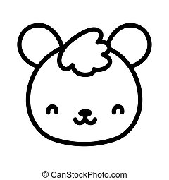 cute teddy bear face toy cartoon icon line style
