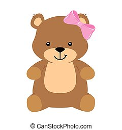 cute teddy bear female isolated icon