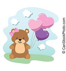 cute teddy bear female with balloons helium
