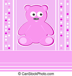 Cute Teddy Bear girl pink background
