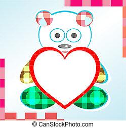teddy bear greetings card with heart