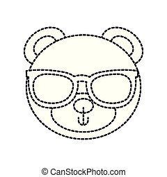 cute teddy bear head wearing glasses toy design