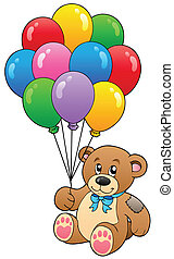 Cute teddy bear holding balloons - vector illustration.