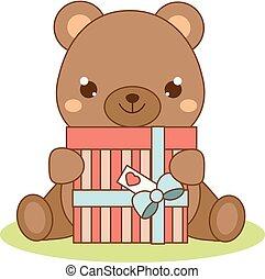 Cute teddy bear holding gift box. Kawaii style