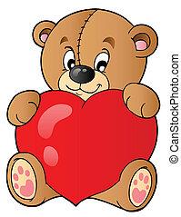 Cute teddy bear holding heart - vector illustration.