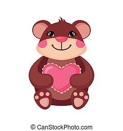 Cute Teddy bear hugging a pink heart.