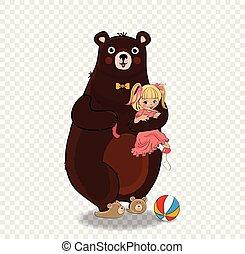 Cute Teddy Bear Hugging Baby Girl in Pink Dress