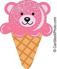 Cute teddy bear ice cream cone