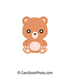 Cute Teddy bear icon, flat design