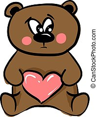 Cute teddy bear, illustration, vector on white background.