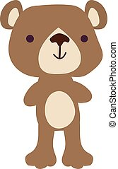 Cute teddy bear, illustration, vector on white background