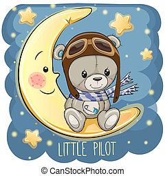 Cute Teddy Bear in a pilot hat is sitting on the moon
