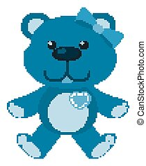 Cute teddy bear in blue color on white background
