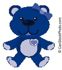 Cute teddy bear in color on white background