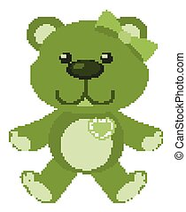 Cute teddy bear in green color on white background
