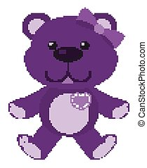 Cute teddy bear in purple color on white background