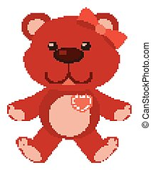 Cute teddy bear in red color on white background