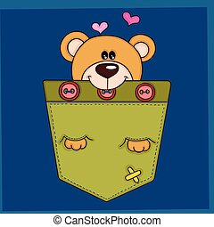 Cute teddy bear in the pocket on blue background