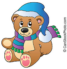 Cute teddy bear in winter clothes