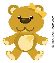 Cute teddy bear in yellow color on white background