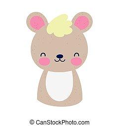 cute teddy bear little animal cartoon isolated design icon