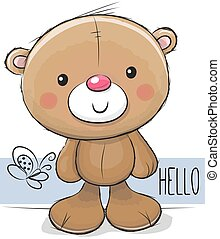 Cute Teddy Bear on a white background