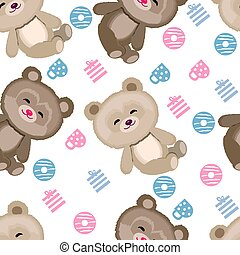 Cute Teddy bear pattern on white background