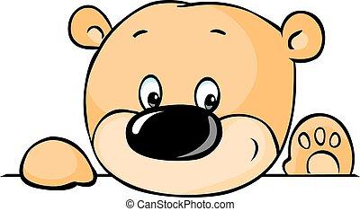 cute teddy bear peeking out from be