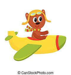 Cute teddy bear pilot character flying on airplane, cartoon illustration