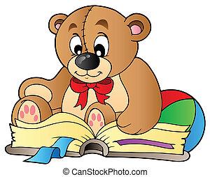 Cute teddy bear reading book - vector illustration.