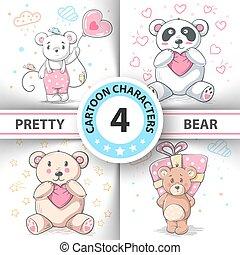 Cute teddy bear - set cartoon characters.