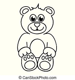 cute teddy bear simple icon pictogram outline
