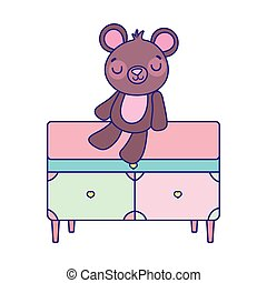 cute teddy bear sitting on drawers furniture on white ...