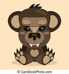 Cute Teddy bear smiling. Toy for children. Vector