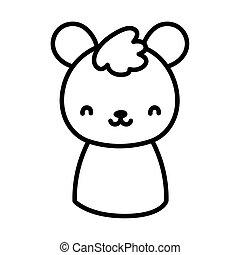 cute teddy bear toy cartoon icon line style
