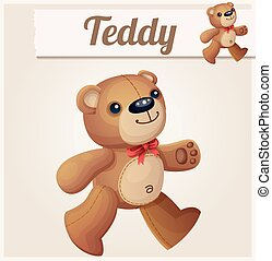 Teddy bear walks. Cartoon vector illustration.