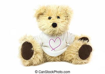 teddy bear - cute teddy bear wearing a love heart t shirt