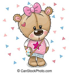 Cute Teddy Bear with a bow on a white background