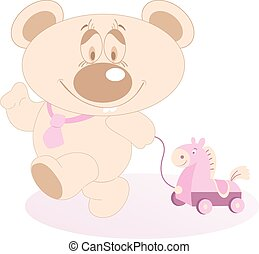 Cute Teddy Bear with a toy horse