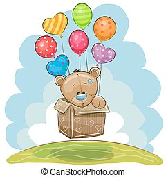 Cute Teddy Bear with balloons