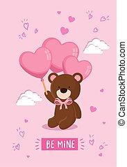 cute teddy bear with balloons helium