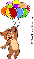 Cute teddy bear with balloons on white background