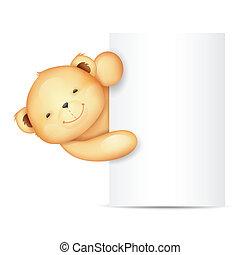 Cute Teddy Bear with Blank Board - illustration of cute...