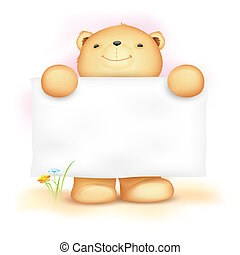 Cute Teddy Bear with Blank Board - illustration of cute...
