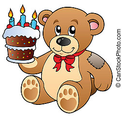 Cute teddy bear with cake - vector illustration.