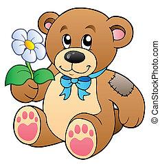 Cute teddy bear with flower - vector illustration.