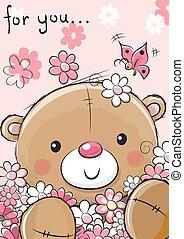 Cute Teddy Bear with flowers
