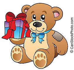 Cute teddy bear with gift